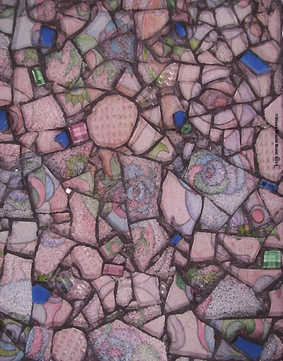 glass mosaic on wood / pink drawn wallpaper