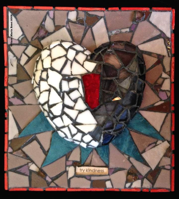 Picture of art glass mosaic on wood heart half white half black with red in the middle with teal spokes and beige brown background with text: try kindness