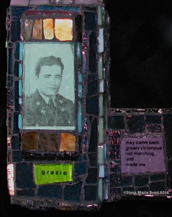 Picture of glass mosaic on wood with text and photo of air force man, Arturo Rossi in World War II grazie / they came back grown victorious not marching and made me light blue glass over photo