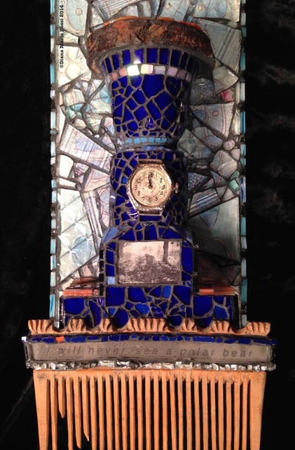 glass mosaic on wood / detail/ wooden fountain with watch and photo of miner drinking and comb on bottom