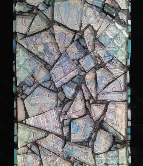 glass mosaic on wood/ drawing under glass/ very blue, winter and water like/ light blue