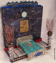 art glass mosaic on wood with photos, text, silkscreen reproduction, wire, bed and beads / interior scene/ purple with bed / view from the side