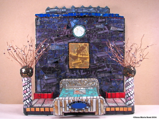 glass mosaic on wood with photos, text, silkscreen reproduction, wire, bed and beads / interior scene/ purple with bed