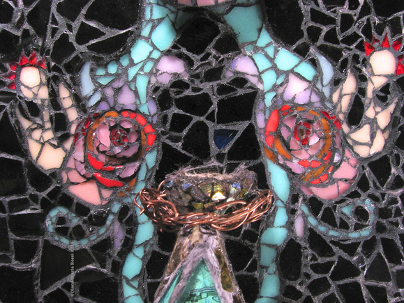 detail of nest surrounded by copper wire and offset by pink design with red coronas and a black background