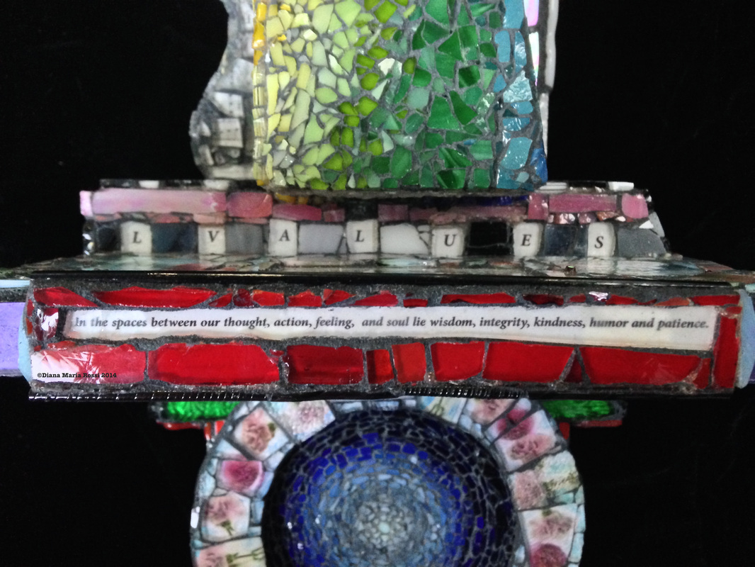 Picture of glass mosaic on wood detail round blues, different gradations of blues surround by pink roses in a garland toped by the bottom of the rainbow pyramid and text:..... l v a l u e s