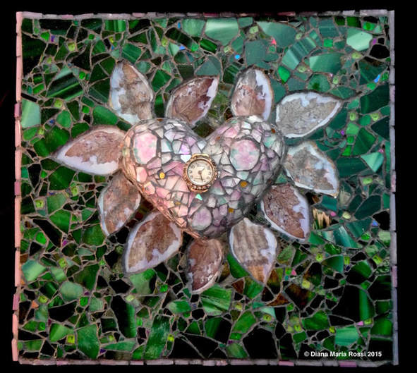 glass heart mosaic. the heart is clear glass over drawings of violets. the drawings are lavender and some green. the background is green with purple flecks and the spokes around the heart are photos of a leaf that looks like wings! there is a clock face in the middle of the heart